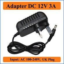 Transformador do conversor de potência do interruptor da saída da c.c. 36w da tomada do reino unido de 12v 3a com c.c. jacks 5.5mm x 2.1-2.5mm ac 100-240v