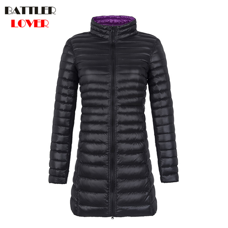 Two-sides Wear Light   Down     Coat   Women Winter Ultralight White Duck   Down   Jackets Females Womens Parkas Ladies Wadded Long Overcoat
