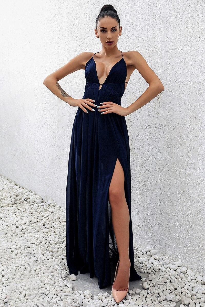 HTB1mb.oeU3IL1JjSZFMq6yjrFXaz - 2018 New Fashion Sling Bandage Maxi Long Dress Women's Robe Long femme vestido de festa elbise