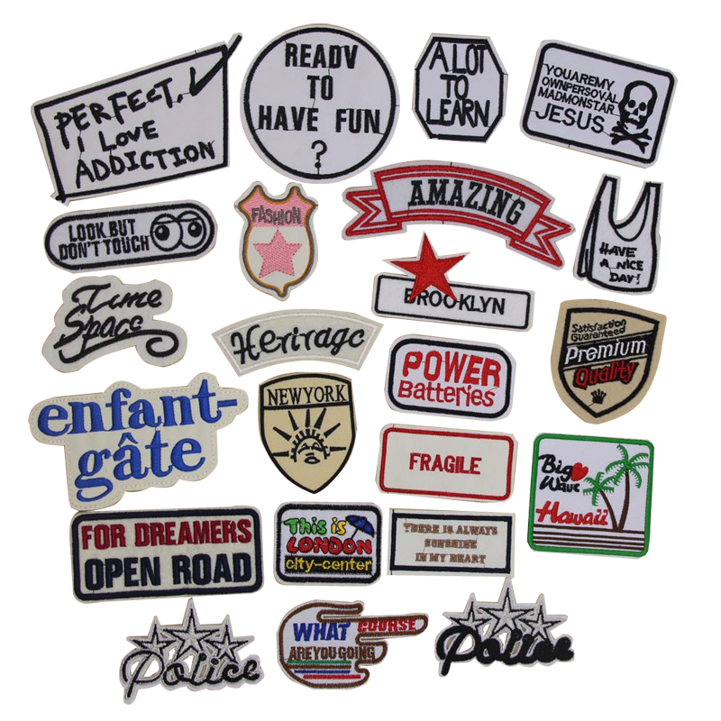 1 pcs words logo emblem embroidered iron on patches fabric cloth accessories popular clothing bag hat Patches Appliques emblem