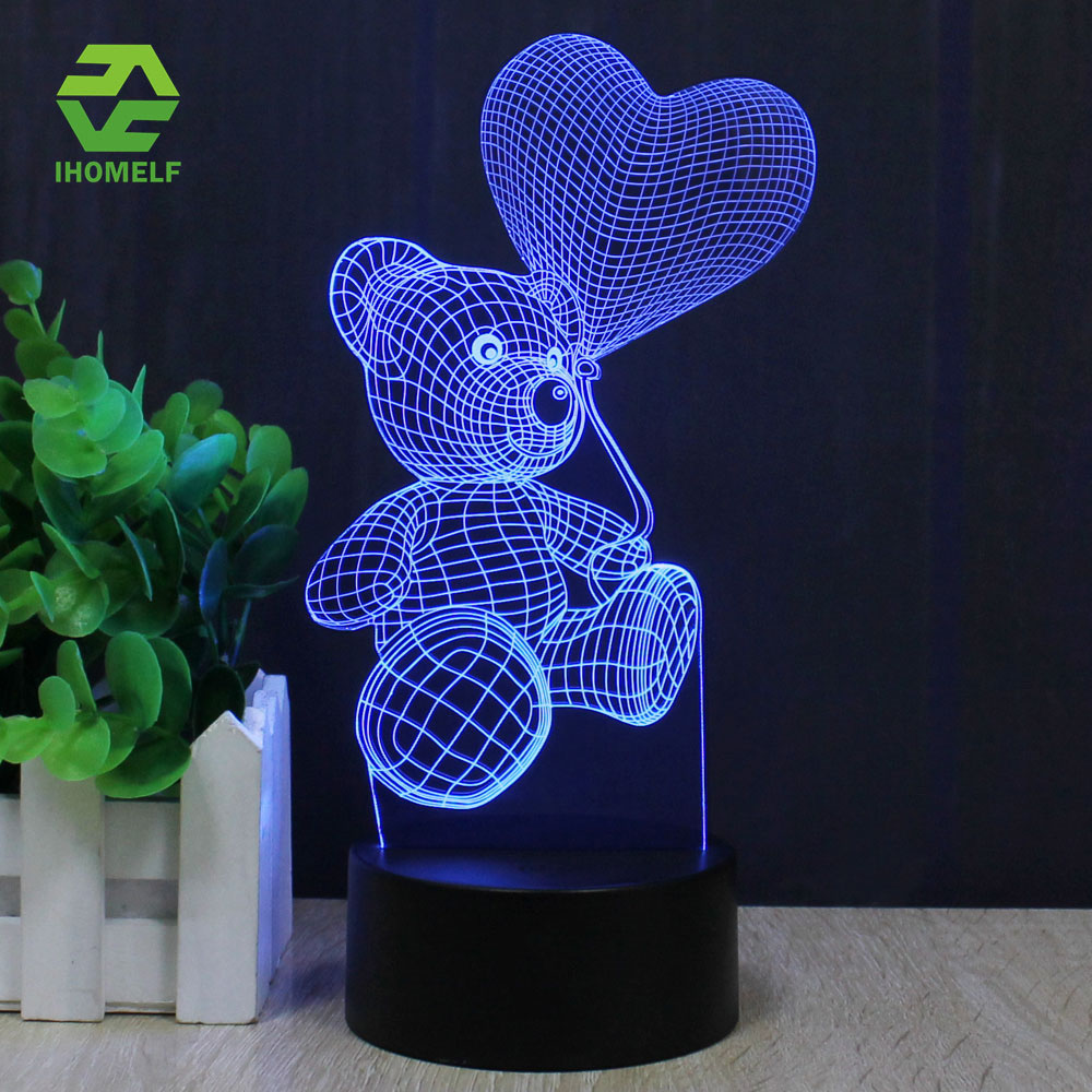 Colorful table lamps - Teddy Bear Love Balloon 3d Lamp Romantic Night Light Led Decorative Table Lamp Colorful Color Change