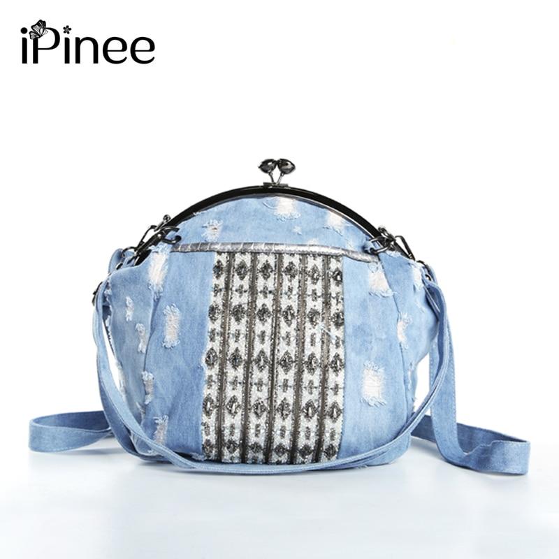 iPinee High Quality Shell Bag Women Denim Handbags Luxury Diamond Bag For Women Shoulder Messenger Bag