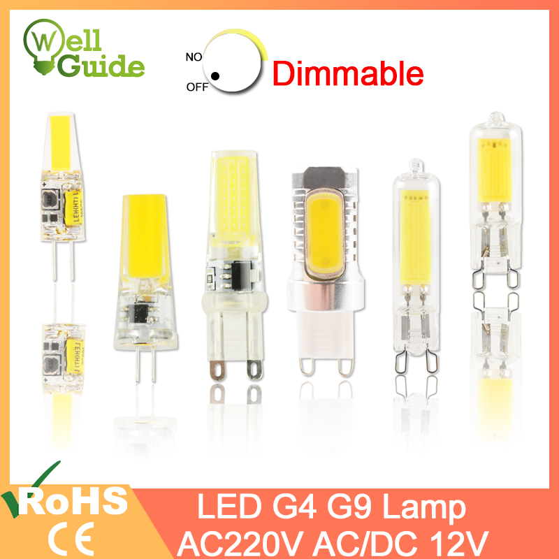 LED G9 G4 Lamp Bulb AC/DC 12V 220V 3W 6W 10W COB SMD LED G4 G9 Dimmable Lamp Replace Halogen Spotlight Chandelier