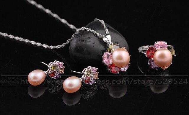 [MeiBaPJ]925 sterling silver charm fine wedding party jewelry 2016 new fashion flower freshwater pearl jewelry set for women