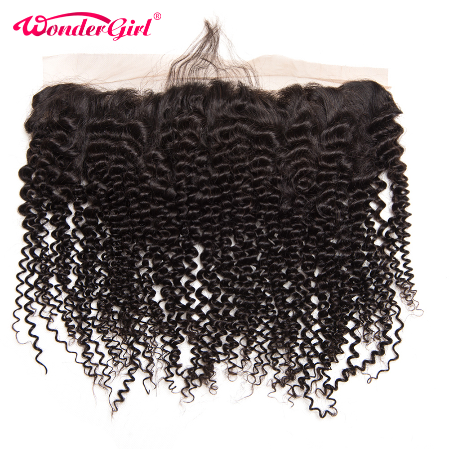 Wonder Girl Brazilian Kinky Curly Ear till Ear Pre Plockad Snörning Frontal Closure With Baby Hair 100% Human Hair Frontal Remy Hair