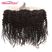 Lace-Frontal-Closure Baby-Hair Curly Ear-To-Ear Pre-Plucked Kinky Girl Brazilian 100%Human-Hair