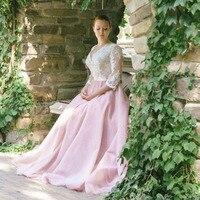 Лори плюс Размеры с длинным рукавом Кружева свадебное платье аппликации V шеи индивидуальный заказ Line Розовые Свадебные платья платье неве
