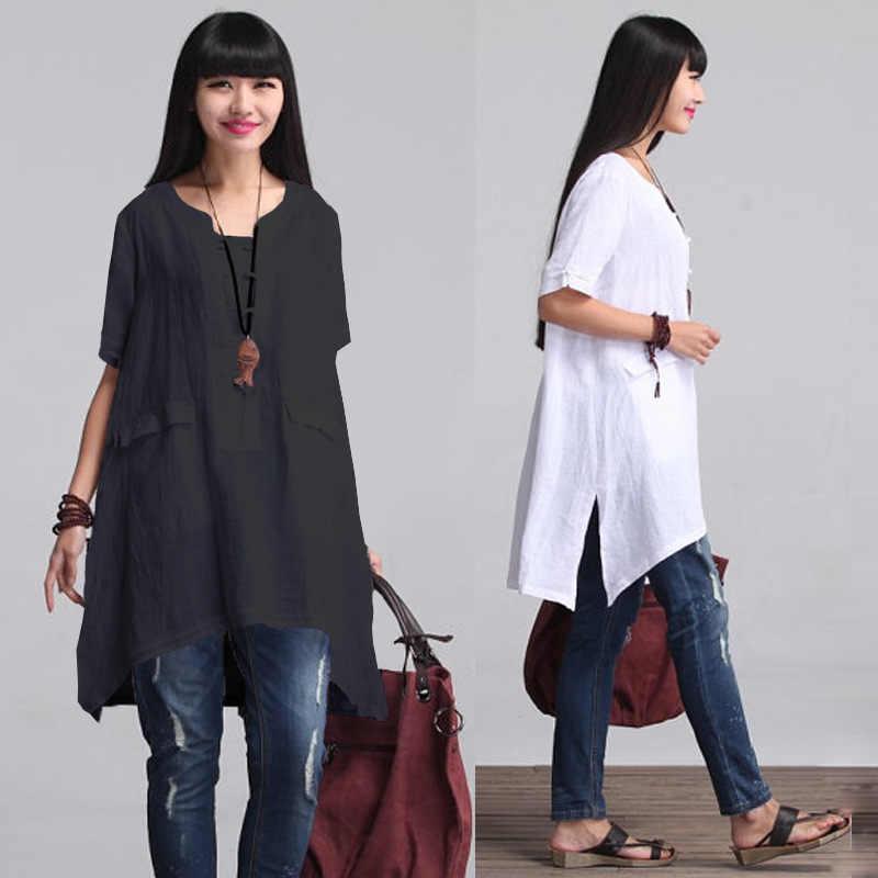 Корейский топ с круглым вырезом, однотонная, обычная, полный, Zanzea, плюс размер, женская, бесплатная доставка, 2019, Весенняя новая рубашка, Свободный Повседневный для шутника, рукав