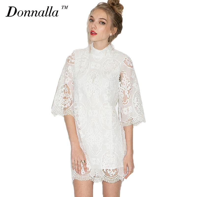 White Lace Dress Women Fashion Sheer Sleeve Dresses Sector Hem Princess Dress Women Turtleneck Slim Lace Dresses Robe Femme 2016