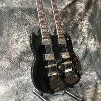 New standard Custom ,SG double necks electric guitar black color 12 6 strings guitarra.Custom gitaar,real photos