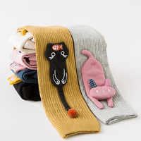 Meninas dos desenhos animados collants de algodão crianças collants para meninas bebê gato comer peixe cintura elástica malha meia meia meia