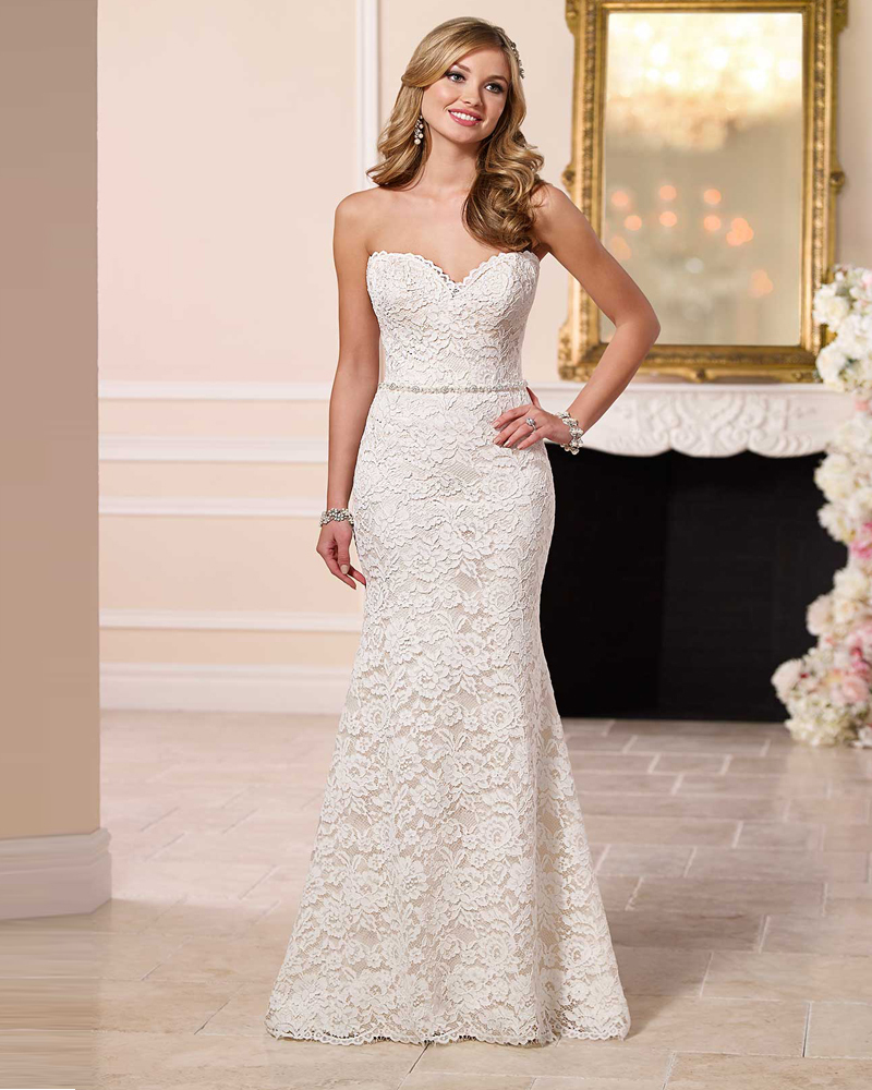 classic simple elegant wedding dress Monterey lace wedding gown made in San Francisco California by Amy Kuschel