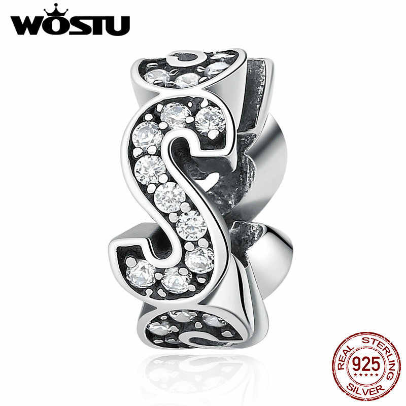 "Real 925 Sterling Silver ""S"" Shape Vogue Spacer Charms Beads Fit Original WST Bracelet Bangle Authentic Fine Jewelry"
