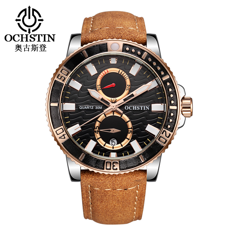 OCHSTIN Casual Watch Men Luxury Brand Quartz Military Sport Chronograph Watches Genuine Leather Wristwatch Men relogio