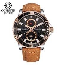 OCHSTIN Повседневная Часы Мужчины Luxury Brand Кварц Военная Спорт Хронограф Часы Из Натуральной Кожи Наручные Часы Мужчины relogio masculino