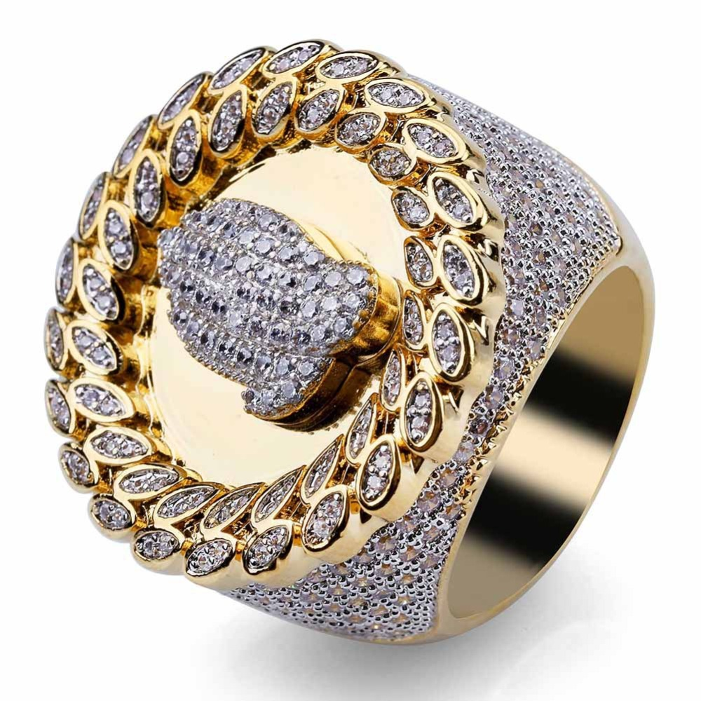 BNRESALE Full AAA Zircon Copper Engraved Ring Iced Out Hip Hop Praying Hands Ring Fashion Wedding Engagement Gift with Case