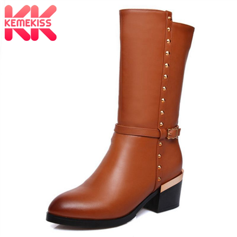 KemeKiss size 33-44 women real genuine leather high heel calf boots half short boot snow warm botas heels footwear shoes R8037 women real genuine leather high heel ankle boots sexy botas autumn winter warm boot woman heels footwear shoes r8077 size 33 40
