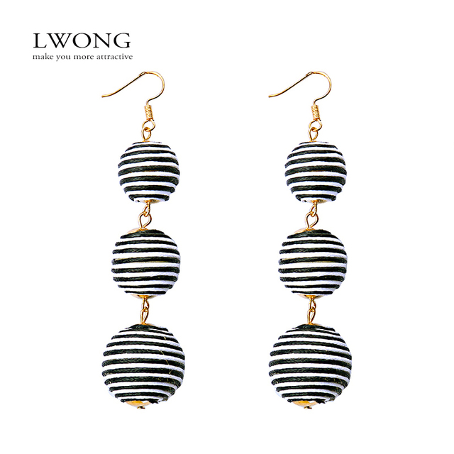 Lwong New Ombre Bon Earrings Thread Wred Three Crispin Ball Drop For Women Pom
