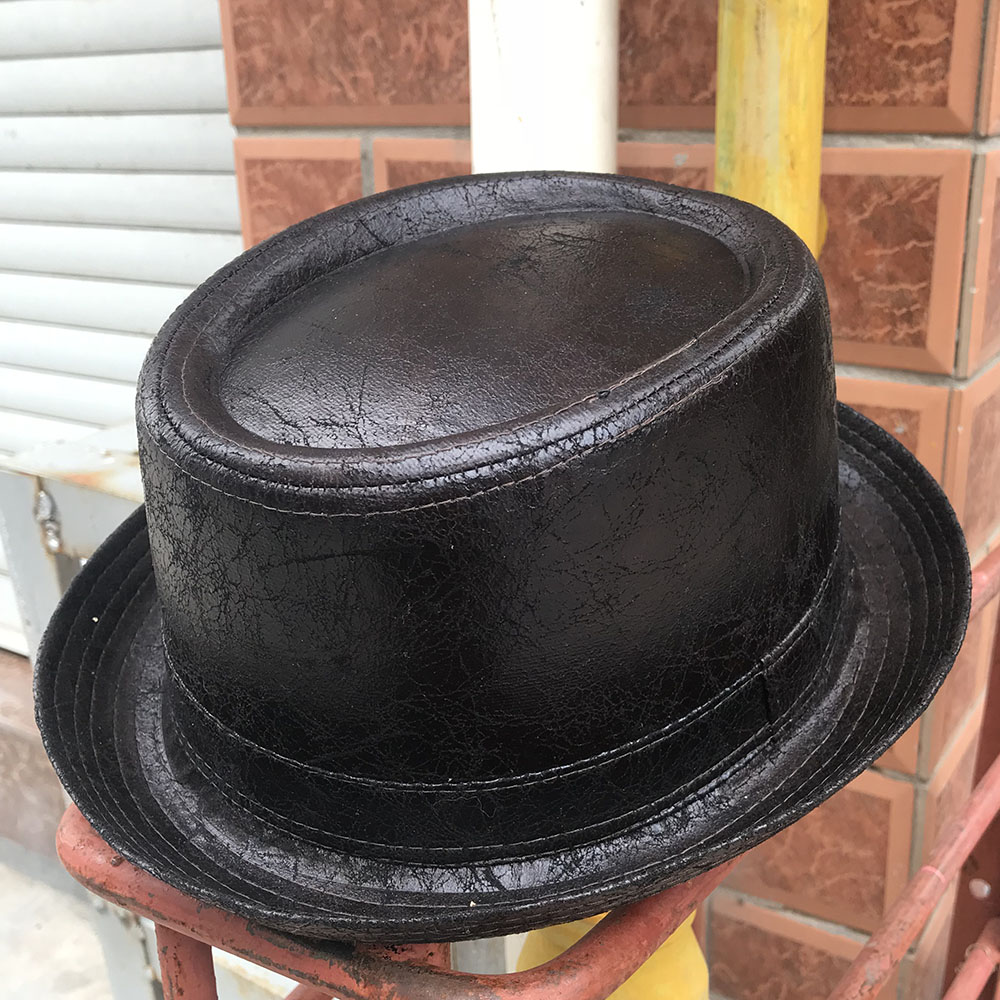 Detail Feedback Questions about 4 Big Size Leather Pork Pie Hat For Dad Fedora  Hat Men Boater Flat Top Hat For Gentleman Bowler Porkpie Top Dad Hats on ... 6fd171f90d06