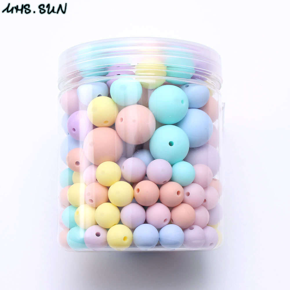 MHS SUN 200pcs Food grade round silicone beads 12mm 15mm 19mm sizes mixed candy colors for
