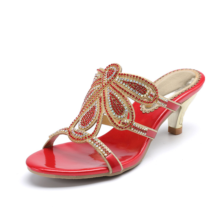 New Luxury Diamond Stiletto High Heels Slippers Online Shopping Peep Toe Womens Shoes Sale High Quality Gold Purple Black Red16