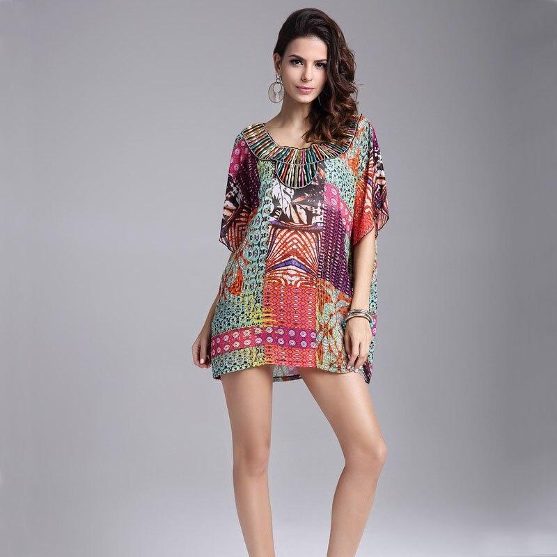 Summer Style Women Dress Fashion Retro Vintage Paisley Print V Neck Hippie Bohemian Summer Dress