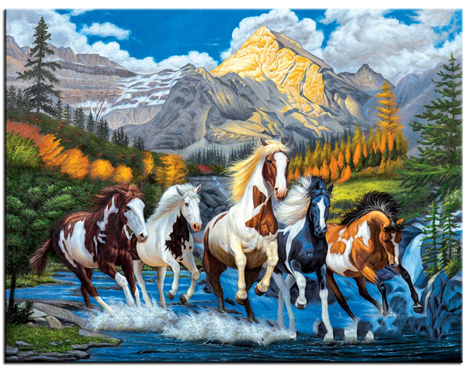 Running Horses 5D Diamond DIY Painting Kit Cross Stitch Needlework Rhinestone Diamond Embroidery Mosaic Home Decor Craft