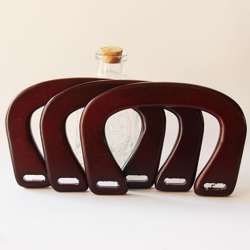 Four Pairs=8 Pieces Size 16X11cm Solid Wood U Shape Wood Obag Handle Hanger DIY Handbag Accessories Wooden Purse Frame Handle