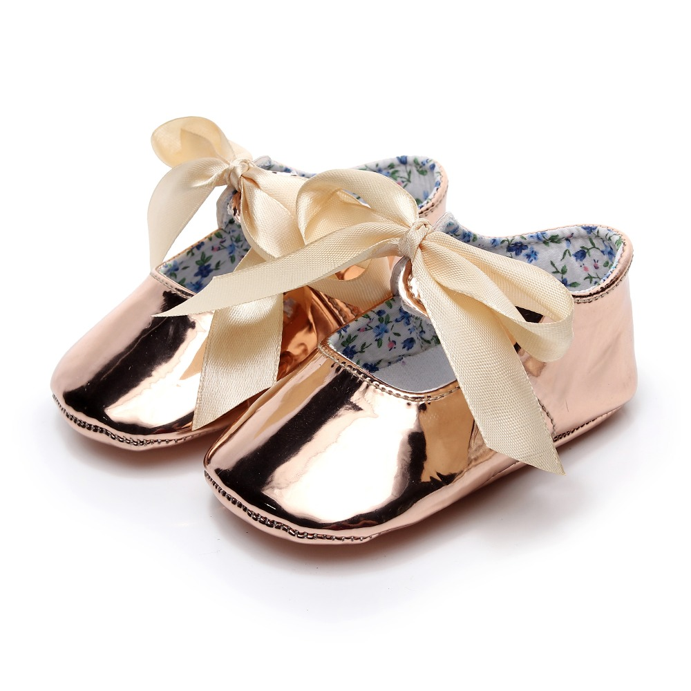 2018 Summer butterfly-knot mary jane baby girls dress shoes PU Leather gold Baby moccasins Prewalker princess ballet party Shoes