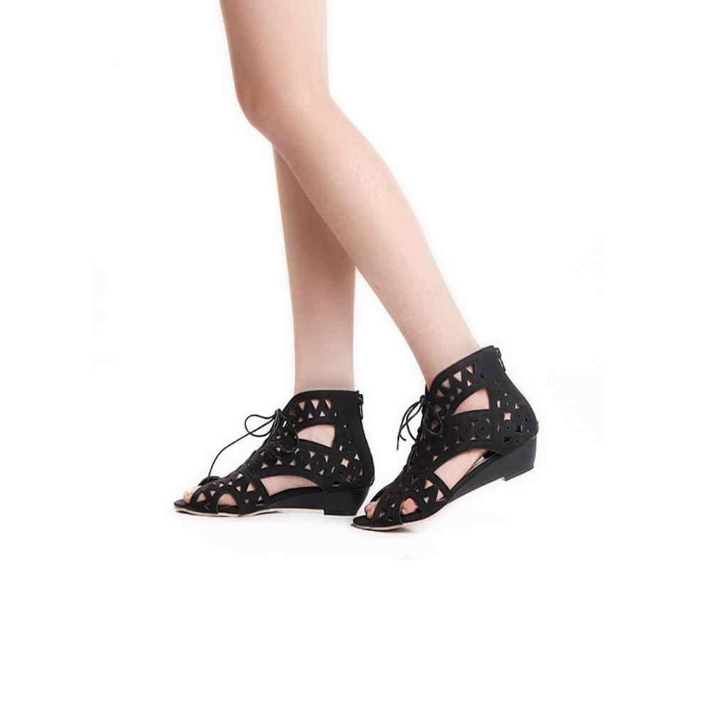 REAVE KEDI Büyük Boy 34-43 Cut out Gladyatör oyma dantel Up fermuar Kadın Sandalet Açık Toe Düşük Takozlar Bohemian plaj ayakkabısı