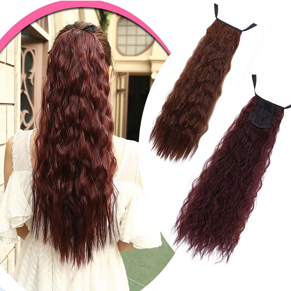"""shangke 22 """"длинные вьющиеся термостойкие синтетический конский хвост поддельные волос хвостики парики для девушки клип в хвост"""