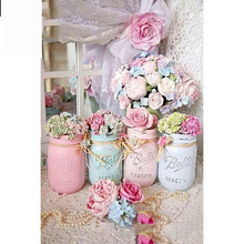 Full Square/Round Drill 5D DIY Diamond Painting Jar & Flowers Embroidery Cross Stitch  Home Decor Gift