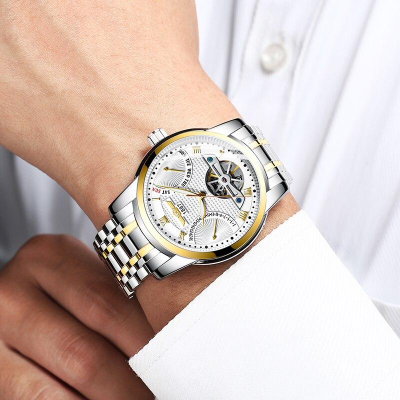 Saatler'ten Mekanik Saatler'de HAIQIN erkek saatler mekanik Erkek Saatler üst marka lüks otomatik İzle erkekler altın kol saati erkek Tourbillon Reloj hombres'da  Grup 3