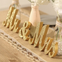 Wedding Table Centerpiece Decoration Golden Silver Glitter Mr & Mrs Wooden Letter Wedding Marriage Photo Booth Prop Party Favors