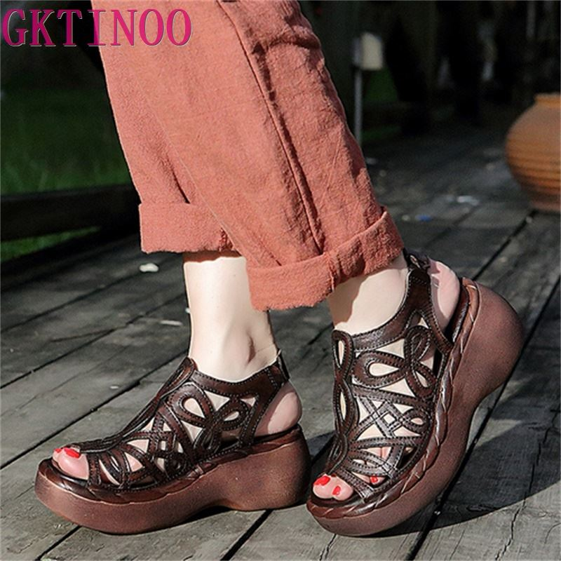 100 Genuine Leather Women Sandals Cut Out Platform Wedges Cowhide Open Toe Handmade Summer Women s