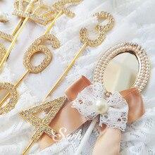 """1 шт. золотые шипованные бриллиантами цифры """"0-9"""" корона коллекция Топпер для торта вечерние украшения десерт прекрасные подарки"""
