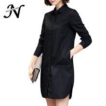 Spring Shirt Dress Women Korean Style Ladies Short Straight Dress Long Sleeve 2018 New Elegant Dresses Plus Size Women Clothing