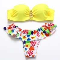 BANDEA 2017 New Sexy Push Up Bikinis Heart Print Swimwear Women Tube Top Swimsuit Trangle BeachWear