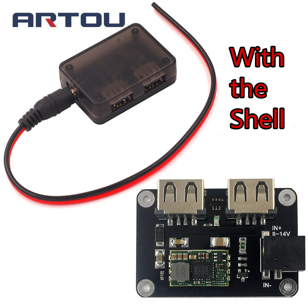DC 9V 12V To 5V 4A Step-Down Module Dual USB Charger Compatible With Apple Android Phone With Case