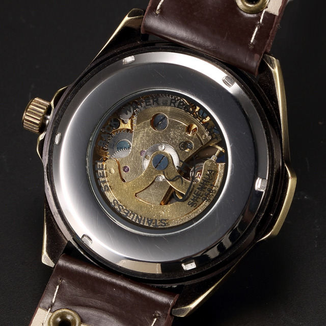 Automatic Mechanical Skeleton Steampunk Watch Men Bronze Self Widing Mens Watches 2017 Hot WristWatch For Man Relogio Masculino