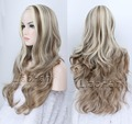2016 Highlight Hair Brown Mixed Blonde Wig Long Wavy Brown Hair with Blonde Highlights Synthetic Wigs for Women