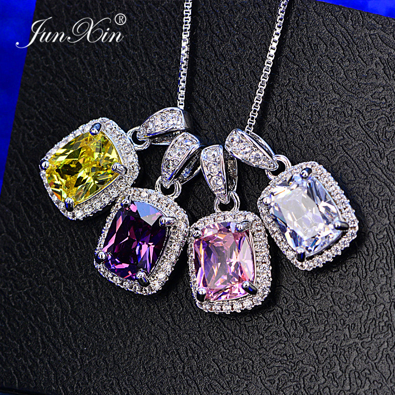 JUNXIN Female Luxury White/Purple Necklaces & Pendants Fashion Blue Fire Opal Necklaces For Women Vintage Wedding Jewelry|fashion necklace|necklace fashion|necklaces for women - AliExpress