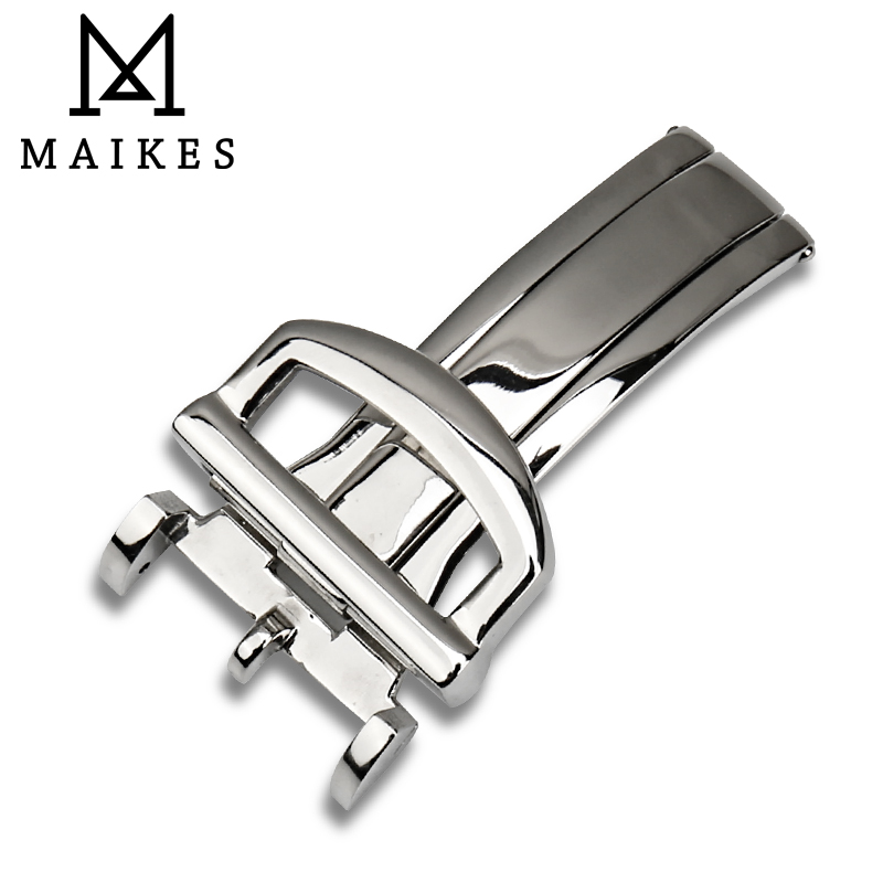 MAIKES High quality 316L Stainless Steel Deployment Clasp For IWC Watch Band Butterfly Brushed Folding Buckle 18mm Without Logo купить недорого в Москве
