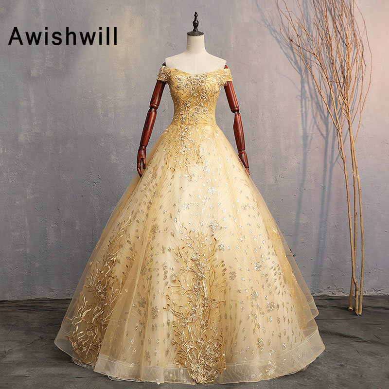 Gold Color Prom Dresses Ball Gown Appliques Lace Floor Length Off The Shoulder Long 2019 Evening Gowns Abendkleider