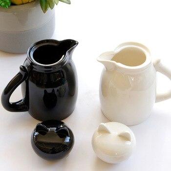 漫画セラミックミルクジャグと蓋素敵な猫ミルククリームカップコーヒークリーマーラテアート投手キッチンコーヒーアクセサリー