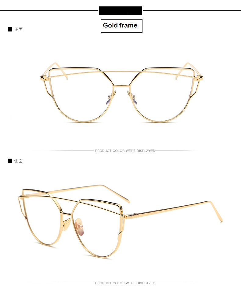 HTB1mb2wjCYTBKNjSZKbq6xJ8pXaj - Cat Eye vintage Brand designer rose gold mirror Eyeglasses For Women Metal Clear lens Glasses Female oculos