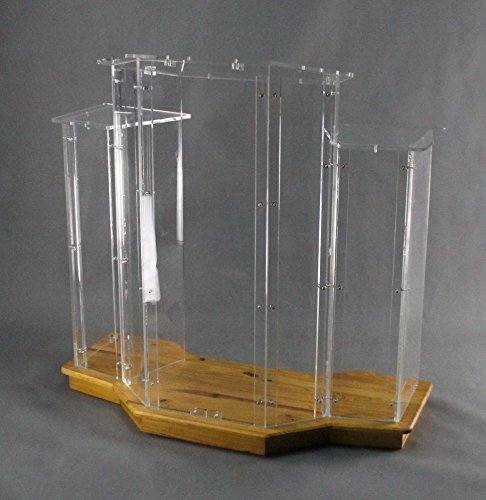 Fixture Displays Podium, Wood Base W/ Clear Ghost Acrylic, Lectern, Pulpit, 3 Tier Construction - ASSEMBLY REQUIRED Plexiglass