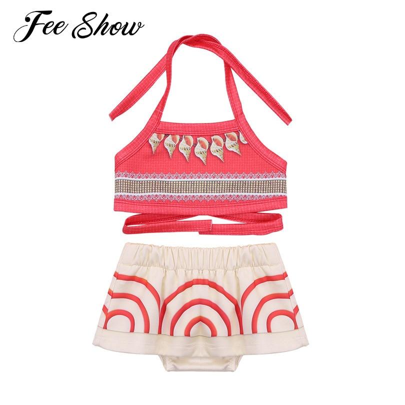 Kids Girls Moana Swimsuit Swimwear Bikini Monokini Bathing Suit Cosplay Costume