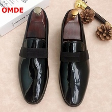 OMDE Fashion Black Patent Leather Loafers Handmade Slip On Mens Flats Casual Shoes Breathable Men Summer Slippers