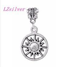 100pcs Ancient silver Sun Sunburst Solar Vergina Star Symbol Pendants Charms Bead for European Bracelet 32 mm x 16 A3238